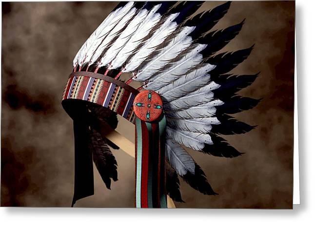 Spirit Guides Greeting Cards - Warbonnet Greeting Card by Daniel Eskridge