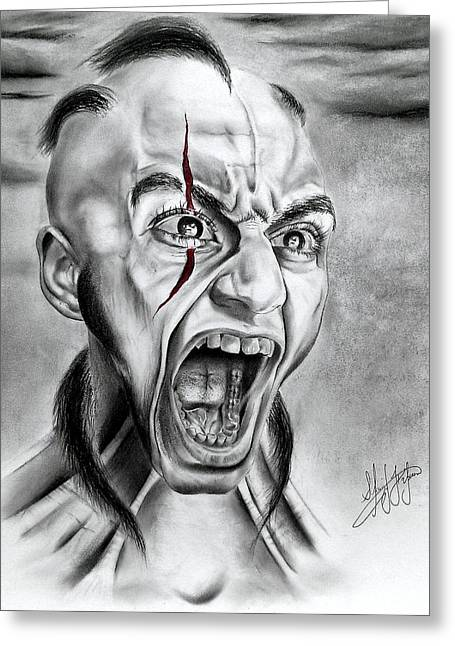 Self-portrait Greeting Cards - Warcry Self-portrait Greeting Card by Sherif Hakeem