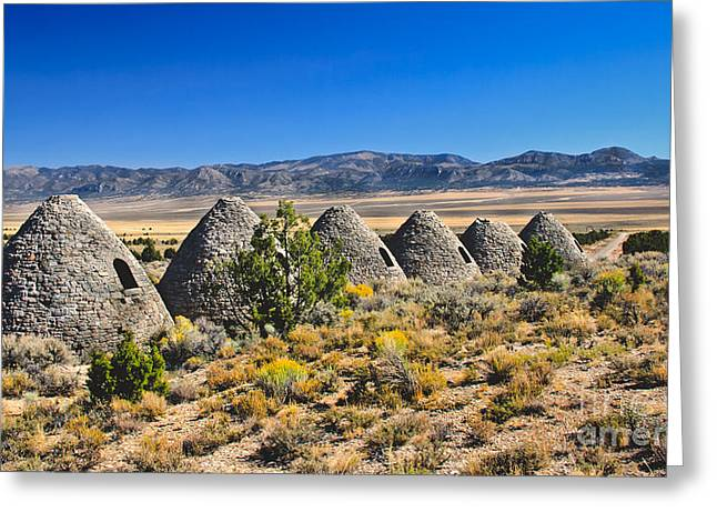 Ward Mining District Greeting Cards - Wards Charcoal Ovens View Greeting Card by Robert Bales