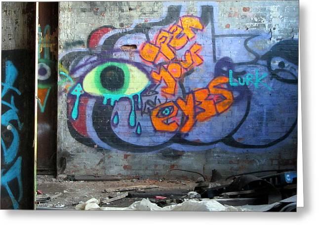 Empty Eyes Greeting Cards - Warehouse Graffiti Eyes 2 Greeting Card by Anita Burgermeister