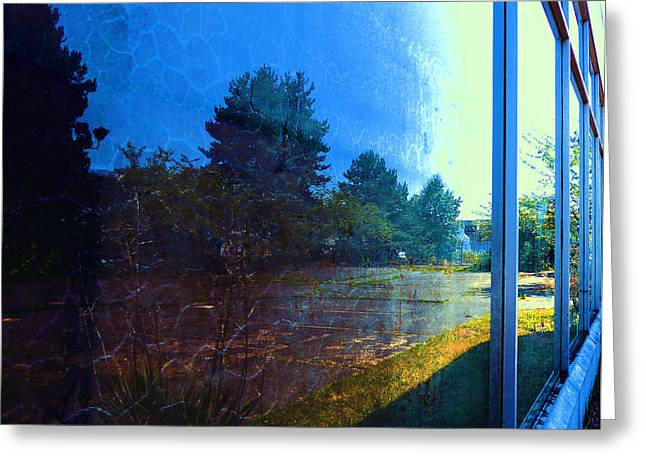 Playbill Greeting Cards - Warehouse Reflection 2 Greeting Card by Laurie Tsemak