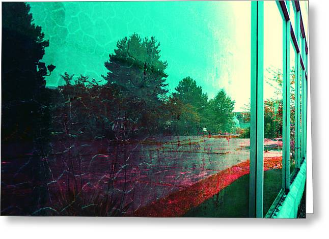 Playbill Greeting Cards - Warehouse Reflection Greeting Card by Laurie Tsemak