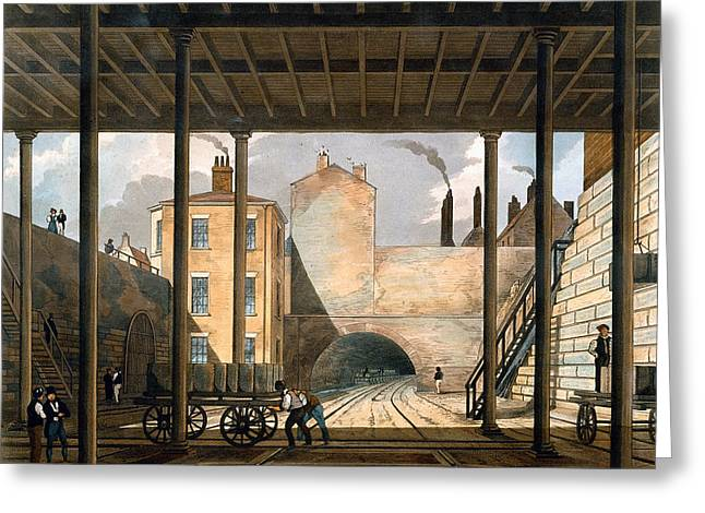 Train Track Greeting Cards - Warehouses Etc At The End Of The Tunnel Greeting Card by Thomas Talbot Bury