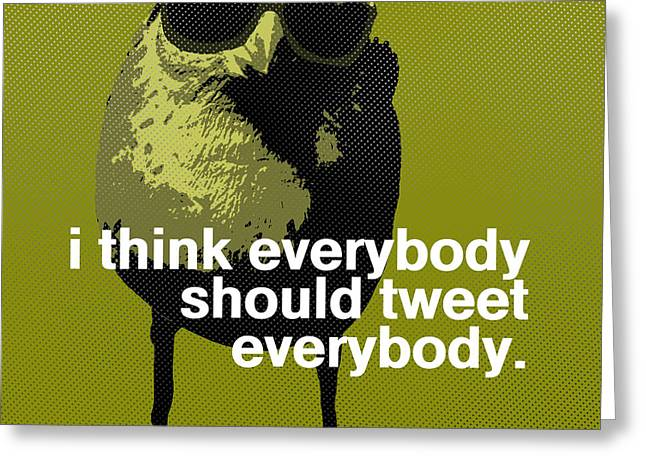 Twitter Greeting Cards - Warhol Tweeting Bird Greeting Card by Anthony Ross