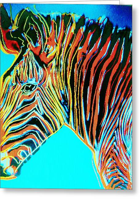 Animal Art Posters In Mixed Media Greeting Cards - WARHOLEs ZEBRA    Pop Art Greeting Card by Gunter  Hortz