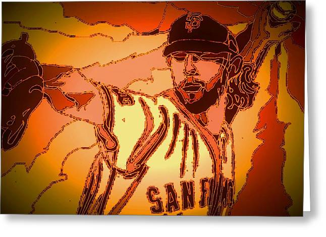 San Francisco Giants Mixed Media Greeting Cards - Warior Greeting Card by Andrew Drozdowicz