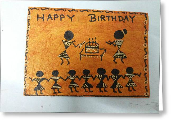 Dots And Lines Paintings Greeting Cards - Warli Birthday Greeting Card by Deepika B