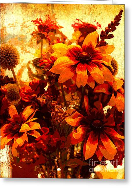 Color Enhanced Greeting Cards - Warm Bouquet Greeting Card by Carol Groenen