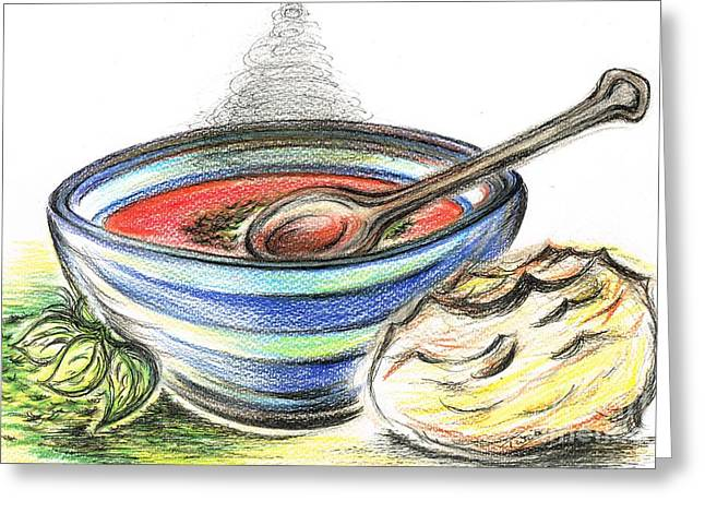 Serve Mixed Media Greeting Cards - Warm Bowl of Tomato Soup Greeting Card by Teresa White