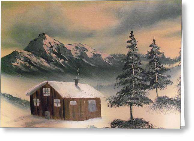 Warm Cabin On Christmas Day Greeting Card by Ricky Haug