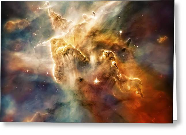 Warm Carina Nebula Pillar 3 Greeting Card by The  Vault - Jennifer Rondinelli Reilly