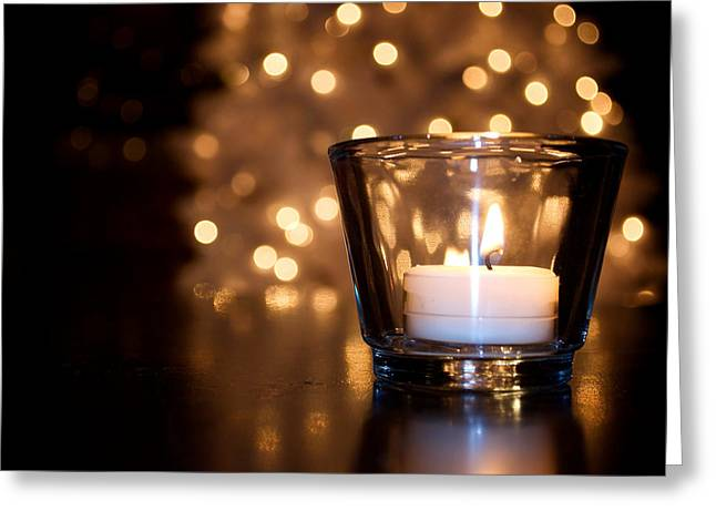 Christmas Candle Greeting Cards - Warm Christmas Glow Greeting Card by Lisa Knechtel