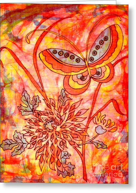 Abstract Nature Tapestries - Textiles Greeting Cards - Warm Summer Abstract Greeting Card by Dale Jackson