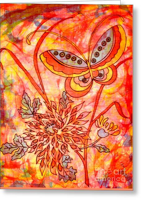 Blossoming Tapestries - Textiles Greeting Cards - Warm Summer Abstract Greeting Card by Dale Jackson