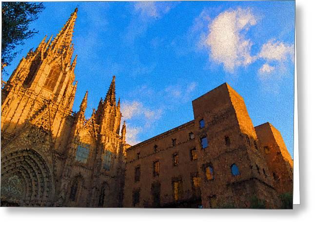 Seu Greeting Cards - Warm Glow Cathedral - Impressions Of Barcelona Greeting Card by Georgia Mizuleva
