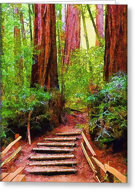 Wooden Stairs Greeting Cards - Warm Heart On Forest Path Amidst Ancient Trees Greeting Card by Joel Bruce Wallach