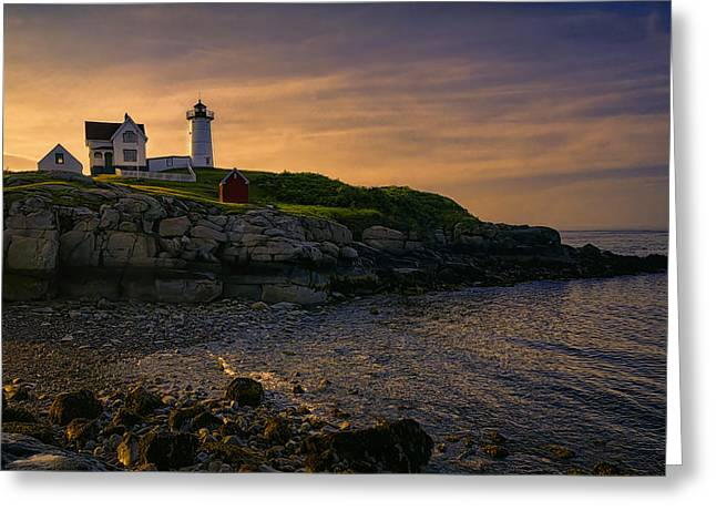 Nubble Greeting Cards - Warm Nubble Dawn Greeting Card by Joan Carroll