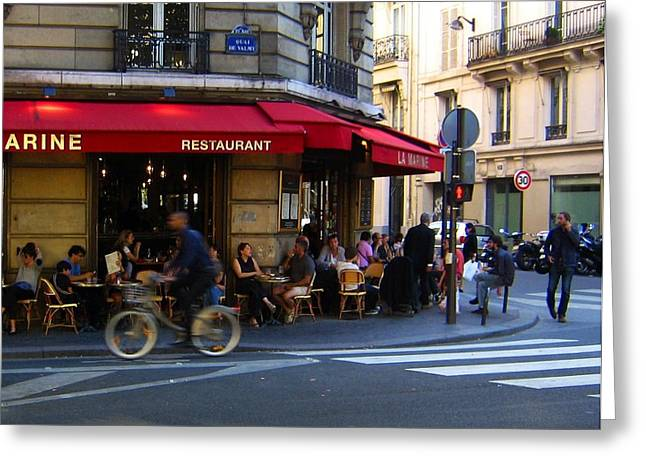 European Bicycle Shop Greeting Cards - Warm Paris Evening Greeting Card by John Terrey