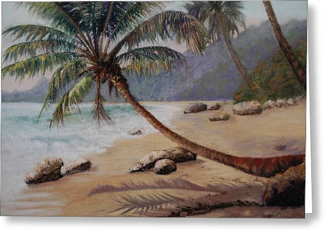 Dominican Republic Pastels Greeting Cards - Warm Sands of the D.R.  Greeting Card by Lorraine McFarland
