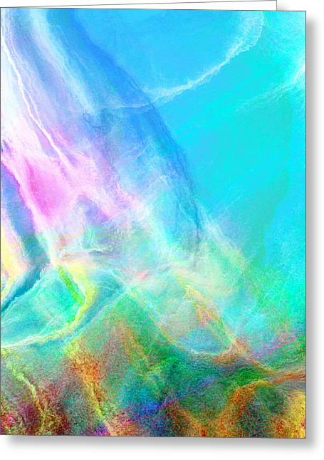 Print On Canvas Greeting Cards - Warm Seas- Abstract Art Greeting Card by Jaison Cianelli