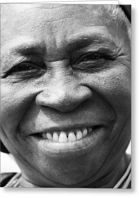 African Heritage Greeting Cards - Warm Smile B Greeting Card by Jerry Cordeiro