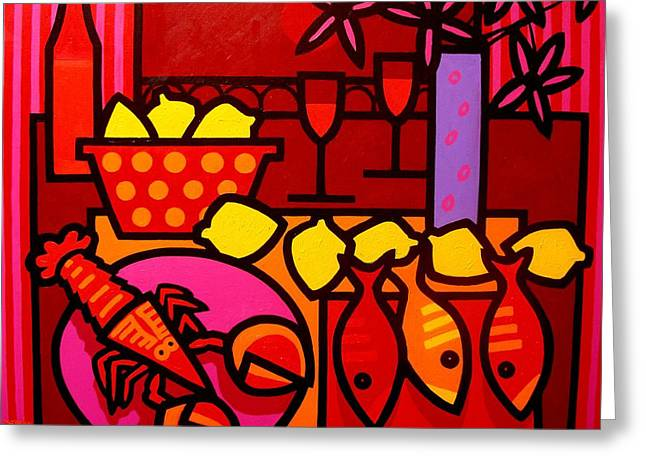 Recently Sold -  - Red Wine Prints Greeting Cards - Warm Still Life at Window Greeting Card by John  Nolan