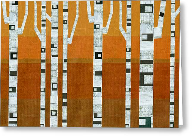 Abedules Greeting Cards - Warm Summer Birches Greeting Card by Michelle Calkins