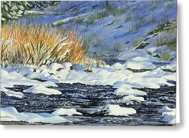 Warm Sun On The Winter Willows Greeting Card by Sharon Lazarowicz