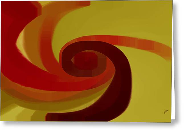 Ben And Raisa Digital Art Greeting Cards - Warm Swirl Greeting Card by Ben and Raisa Gertsberg