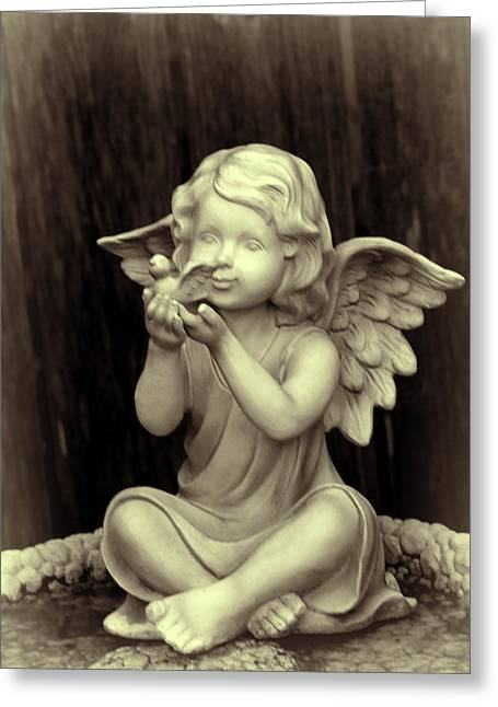 Scuplture Greeting Cards - Warm Toned Angel Greeting Card by Linda Phelps