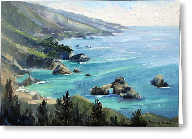 Bixby Bridge Paintings Greeting Cards - Warm Winter Day Big Sur Greeting Card by Karin  Leonard