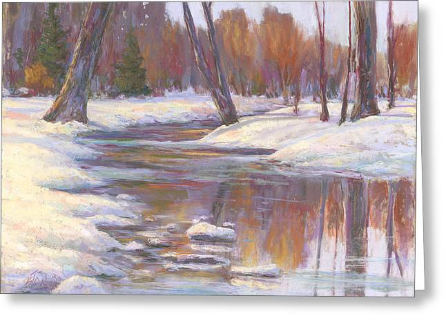Fall Colors Pastels Greeting Cards - Warm Winter Reflections Greeting Card by Billie Colson