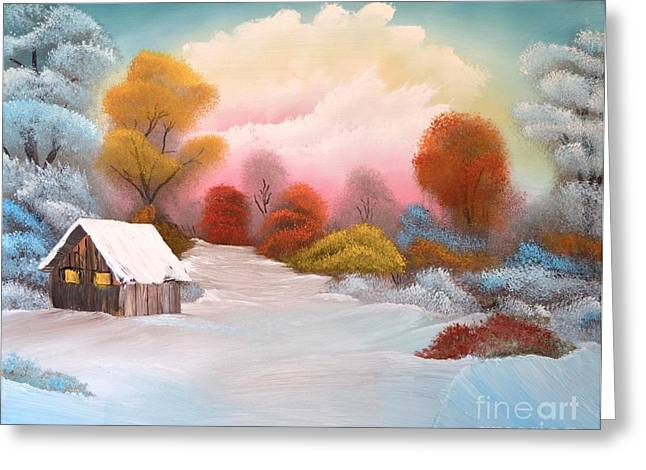 Bob Ross Paintings Greeting Cards - Warm Winter Sunset Greeting Card by John Kemp