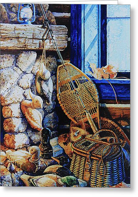 Cabin Window Greeting Cards - Warm Winter Wishes Greeting Card by Hanne Lore Koehler