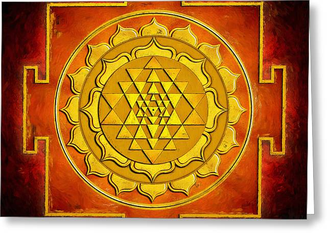 Energize Digital Greeting Cards - Warming Sri Yantra Greeting Card by Dirk Czarnota