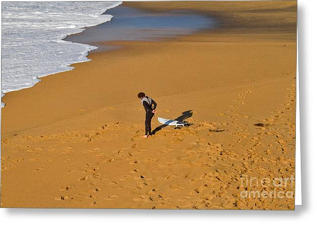 Surfing Photos Greeting Cards - Warming Up Greeting Card by Louise Heusinkveld
