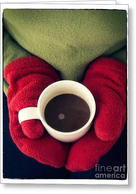 Warm Photographs Greeting Cards - Warming Up with Hot Cocoa Greeting Card by Edward Fielding