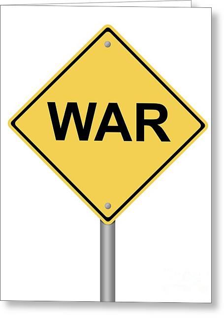 Traffic Control Digital Art Greeting Cards - Warning Sign War Greeting Card by Henrik Lehnerer