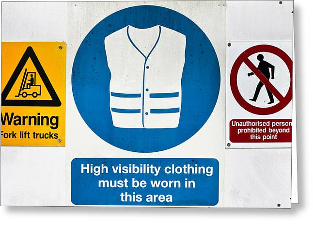 Warning Signs Greeting Card by Tom Gowanlock