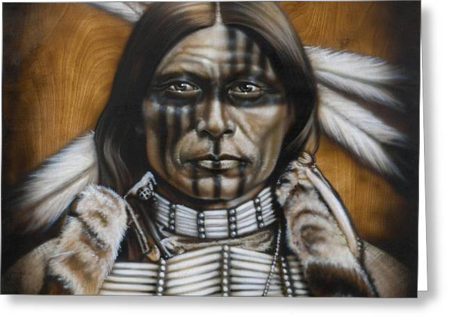 Native-american Greeting Cards - Warpaint Greeting Card by Tim  Scoggins