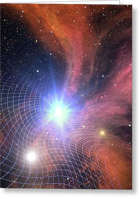 Warped Space Time Grid Greeting Card by Take 27 Ltd
