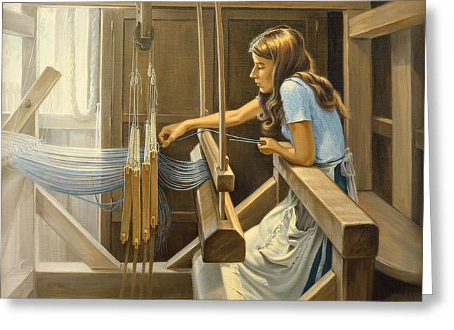 Craftsman Greeting Cards - Warping The Loom  Greeting Card by Paul Krapf