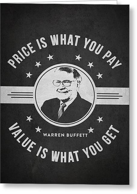 Invest Greeting Cards - Warren Buffet - Charcoal Greeting Card by Aged Pixel