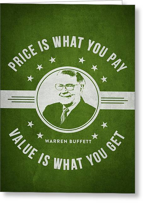 Invest Greeting Cards - Warren Buffet - Green Greeting Card by Aged Pixel