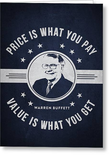 Invest Greeting Cards - Warren Buffet - Navy Blue Greeting Card by Aged Pixel