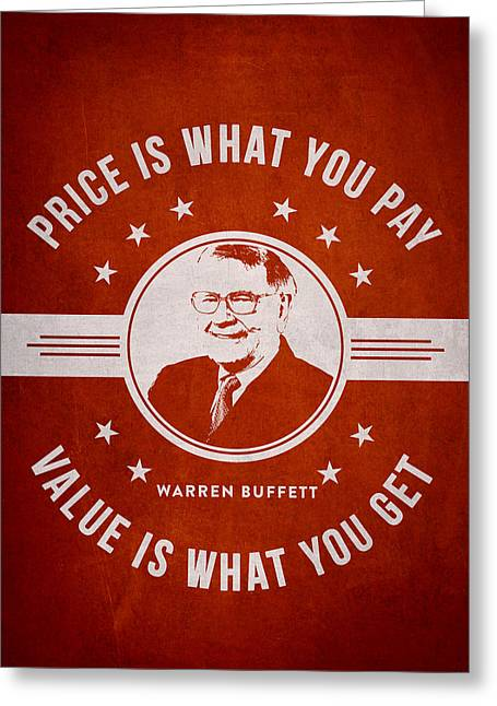 Wealth Digital Greeting Cards - Warren Buffet - Red Greeting Card by Aged Pixel