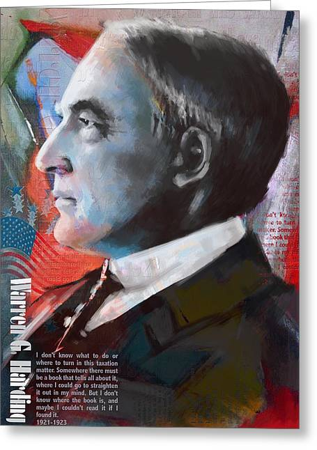 Jefferson Paintings Greeting Cards - Warren G. Harding Greeting Card by Corporate Art Task Force