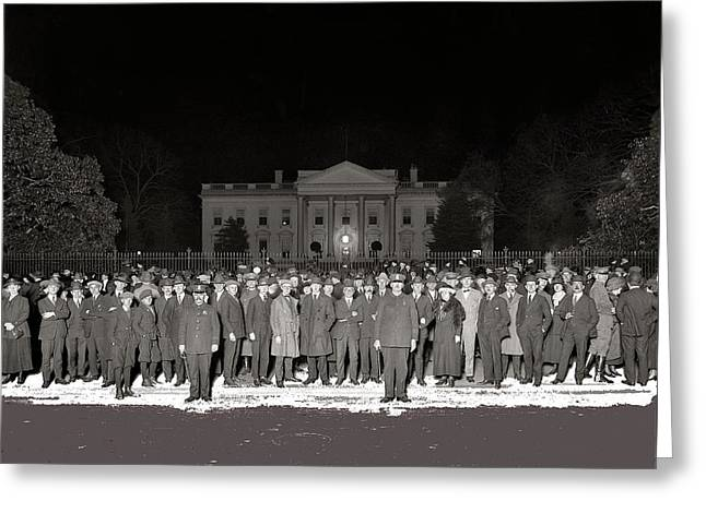 President-elect Greeting Cards - Warren Harding elected president election night National Photo Co. White House Washington D.C.1920 Greeting Card by David Lee Guss