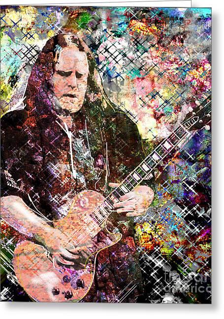 Epiphone Guitars Greeting Cards - Warren Haynes Govt Mule Original Painting Art Print Greeting Card by Ryan RockChromatic