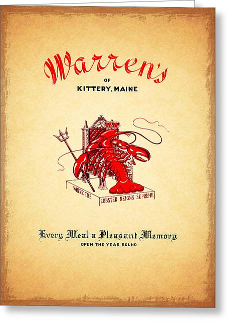 Menu Greeting Cards - Warrens Maine 1950s Greeting Card by Mark Rogan